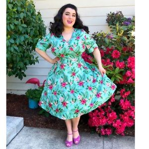 Turquoise Blue Pinup Wrap Dress 20 Flowers Spring